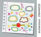 notebook paper child drawings   Shutterstock .eps vector #398448520