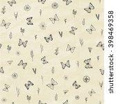 set of hand drawn butterflies.... | Shutterstock .eps vector #398469358
