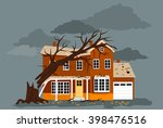 house damaged by a fallen tree  ... | Shutterstock .eps vector #398476516