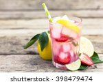 fresh pink lemonade with lemon  ... | Shutterstock . vector #398479474
