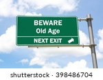 green overhead road sign with a ... | Shutterstock . vector #398486704