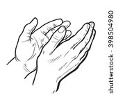 hands clap. vector hand drawn.... | Shutterstock .eps vector #398504980