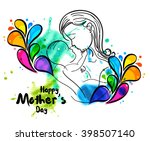 line art of mother silhouette... | Shutterstock .eps vector #398507140