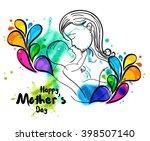 line art of mother silhouette... | Shutterstock .eps vector #398507140