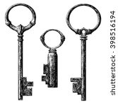 old style key collection .... | Shutterstock .eps vector #398516194