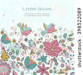 vector card with flowers and... | Shutterstock .eps vector #398522089