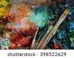 artists brushes and oil paints... | Shutterstock . vector #398522629