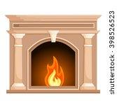fireplace in flat style...   Shutterstock .eps vector #398526523