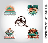 set vintage badge with dolphin... | Shutterstock .eps vector #398531146