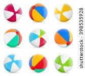 beach balls. set of isolated... | Shutterstock .eps vector #398535928