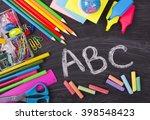 abc alphabet  blackboard ... | Shutterstock . vector #398548423