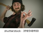 silly hipster lumberjack gives... | Shutterstock . vector #398548900