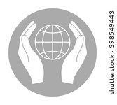 earth in hands icon. hands...   Shutterstock . vector #398549443