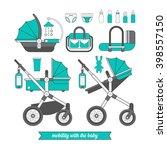 baby pram. vector baby carriage ... | Shutterstock .eps vector #398557150