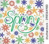 word spring with flowers.... | Shutterstock .eps vector #398564980