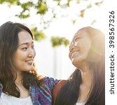 sister friendship affectionate... | Shutterstock . vector #398567326