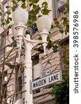 Maiden Lane Street Sign and Lamp Post San Francisco California