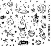 vector doodle space seamless... | Shutterstock .eps vector #398579140