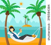 woman chilling in hammock. | Shutterstock . vector #398584384