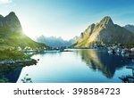 reine village  lofoten islands  ... | Shutterstock . vector #398584723