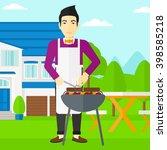 man preparing barbecue. | Shutterstock . vector #398585218