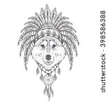 wolf in the indian roach.... | Shutterstock .eps vector #398586388
