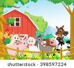 happy farm animal cartoon   Shutterstock .eps vector #398597224