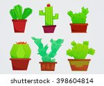 set of cute geometric cacti | Shutterstock .eps vector #398604814