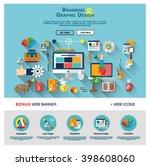 flat web banner template design ... | Shutterstock .eps vector #398608060