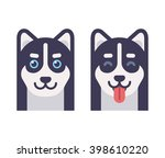 husky dog head icons  normal... | Shutterstock .eps vector #398610220