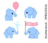 Cute Cartoon Baby Elephant Set...
