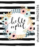 cute spring floral card... | Shutterstock .eps vector #398625256