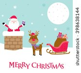 santa claus and reindeer on the ...   Shutterstock .eps vector #398638144