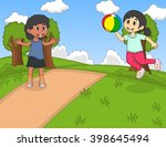 children playing ball at the... | Shutterstock . vector #398645494
