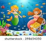 illustration of a mermaid under ... | Shutterstock .eps vector #398654350