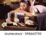 beautiful young girl having... | Shutterstock . vector #398665750