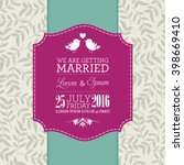 vector wedding card or... | Shutterstock .eps vector #398669410