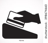 hand swiping a credit card....   Shutterstock .eps vector #398674660