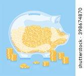 glass piggy bank with money... | Shutterstock .eps vector #398674870