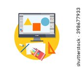 design graphic work space flat. ... | Shutterstock .eps vector #398677933