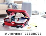 open red suitcase on the floor  ... | Shutterstock . vector #398688733