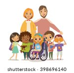 a group of happy children and... | Shutterstock .eps vector #398696140