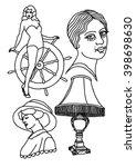 vector oldschool tattoo flash... | Shutterstock .eps vector #398698630