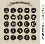 25 hand stitch border vintage... | Shutterstock .eps vector #398705173