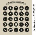 25 hand stitch border vintage... | Shutterstock .eps vector #398705239