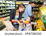 cute family choosing groceries... | Shutterstock . vector #398708350