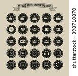 25 hand stitch border vintage... | Shutterstock .eps vector #398710870