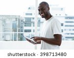 portrait of man smiling and... | Shutterstock . vector #398713480