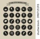 25 hand stitch border vintage... | Shutterstock .eps vector #398715193