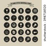 25 hand stitch border vintage... | Shutterstock .eps vector #398718520